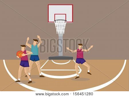 Basketball player blocked by opponent trying to pass ball to unguarded teammate. Cartoon vector illustration on basketball team sport.