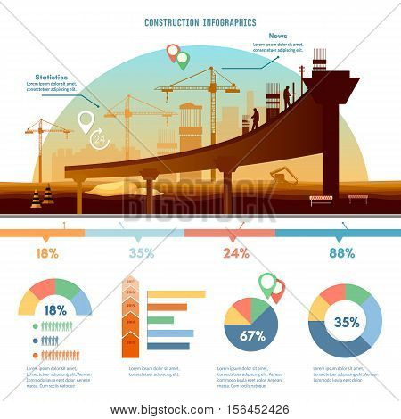 Construction infographics big construction site construction project vector illustration modern construction template design