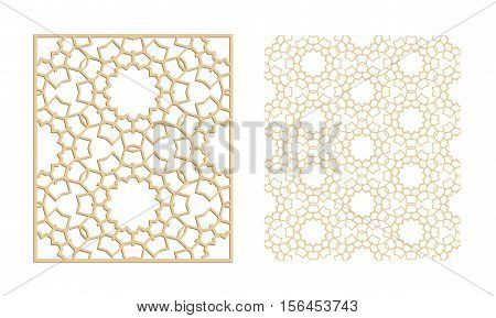 Laser cutting set. Woodcut vector panel. Plywood lasercut eastern design. Hexagonal seamless pattern for printing engraving paper cutting. Stencil ornament.