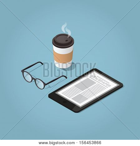 Isometric vector morning digital morning newspaper concept illustration. Tablet with a daily news website glasses for reading and hot morning coffee. Modern business lifestyle.