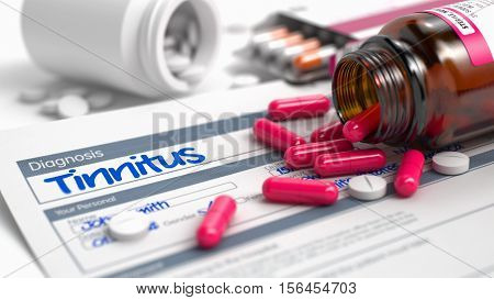 Tinnitus - Handwritten Diagnosis in the Anamnesis. Medicine Concept with Heap of Pills, Close Up View, Selective Focus. 3D Illustration.