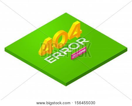 Green Page with a 404 error in the isometric style. page is not found. Isometric error 404. Concept page 404 for web. Vector illustration