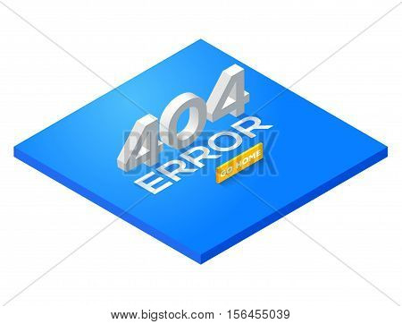 Blue Page with a 404 error in the isometric style. page is not found. Isometric error 404. Concept page 404 for web. Vector illustration