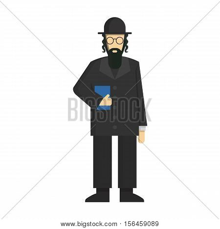 Isolated jewish rabbi standing on white background. Concept of Israel, synagogue and judaic religion.