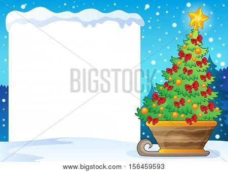 Snowy frame and Christmas tree on sledge - eps10 vector illustration.
