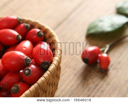Rose hips in the basket