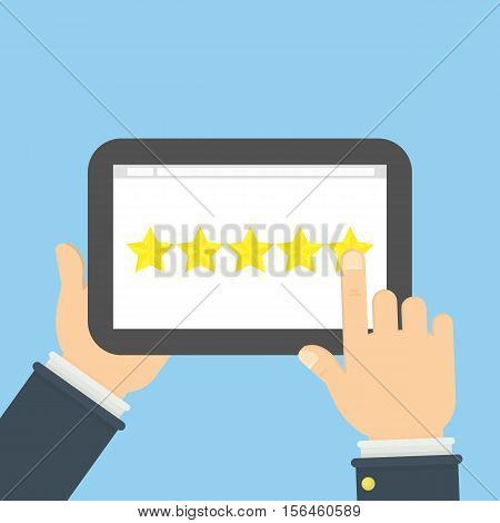 Rating stars app. Hands holding tablet and review. Five golden stars.