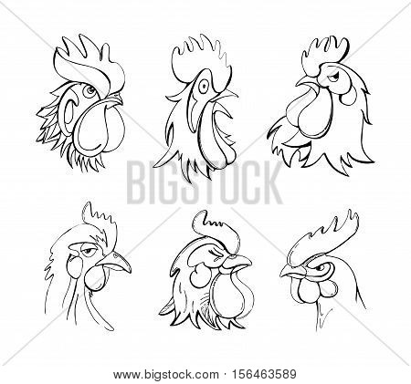 Collection of linear illustrations of rooster characters showing different emotions. Symbol of 2017 year. Angry surprised proud narcissism happy purposefulness.