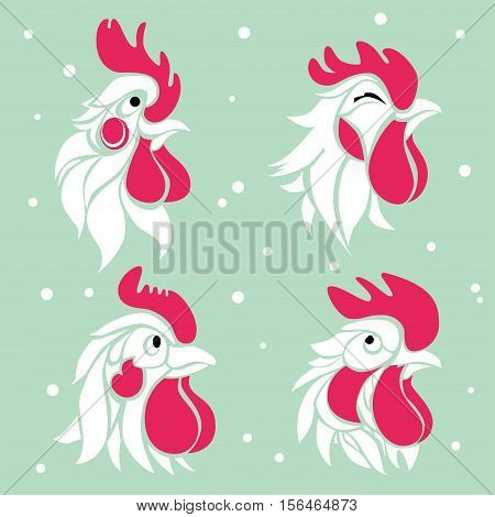 Collection of four roosters characters. Shy happy serious and suspicious.