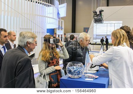 St. Petersburg, Russia - 4 October, Different gas forum visitors, 4 October, 2016. Petersburg Gas Forum which takes place in Expoforum.