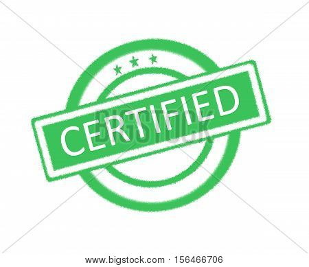 Illustration of certified word written on green rubber stamp