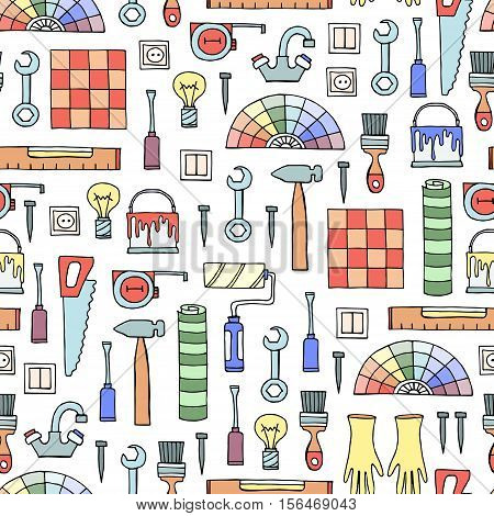 Vector seamless pattern with hand drawn colored tools for repair. Symbols of repair. Background for use in design, packing, web site, fabric
