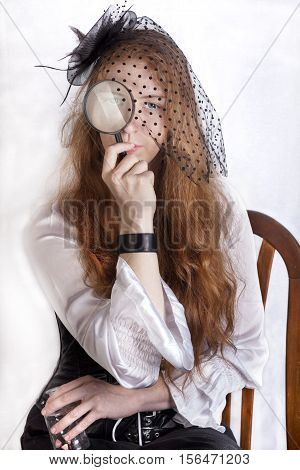 Redhead Girl With Hand-glass