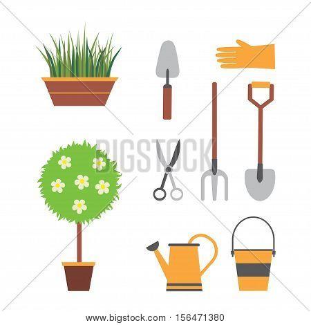 garden tools, gardening, set for garden with plants, shovel, watering can, bucket forks scissors