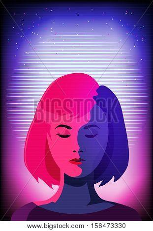 Cyber woman face. Sci-fi background. Tv glitch effect