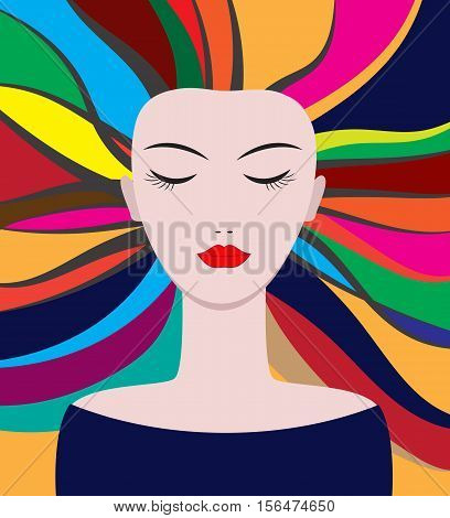 Hair coloring. Vector portrait of a girl with multi-colored strands.