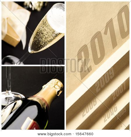 New year collage. Bottle and glass of champagne, elegant golden gift box with white ribbon. All on matt black background.