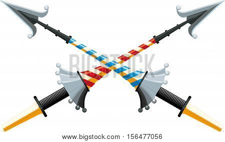 Crossed tournament spear with an iron hilt with bright color strips on white background.