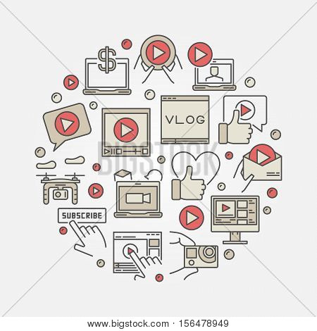 Video blog concept illustration. Round colorful symbol made with video blogging and vlog icons