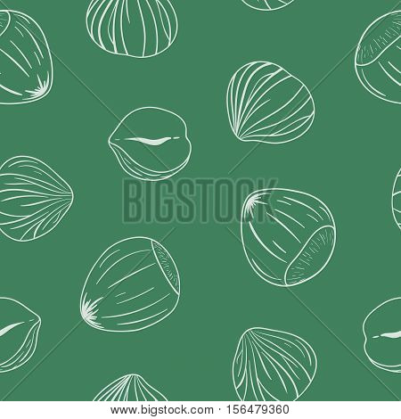 Seamless pattern with shelled and whole hazelnuts. Outlines on green background. Hand drawn vector seamless pattern, eps10. For backgrounds, packaging, ads, interiors, labels and other designs.