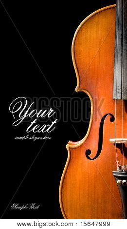 Violin shape. Space for text isolated on black