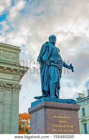ST PETERSBURG RUSSIA-OCTOBER 3 2016.Monument to Field Marshal Prince Barclay de Tolly -Minister of War during Napoleon's invasion in 1812 on the background of Kazan Cathedral in St Petersburg Russia