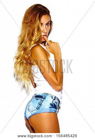 Funny crazy glamor stylish sexy smiling beautiful blond young woman model in summer bright hipster cloth
