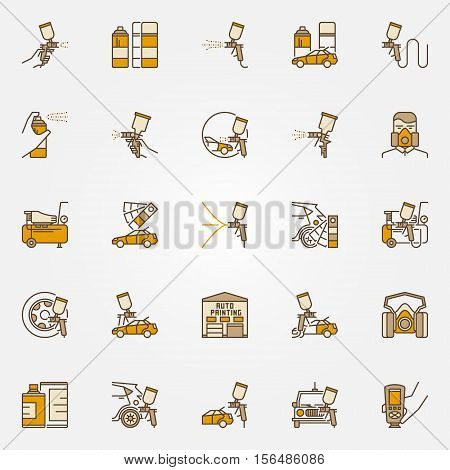 Car painting colorful icons. Vector set of auto painting service creative symbols