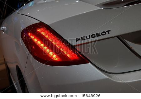 PARIS, FRANCE - OCTOBER 02: Paris Motor Show  on October 02, 2008, showing Peugeot 308 CC, taillight detail.