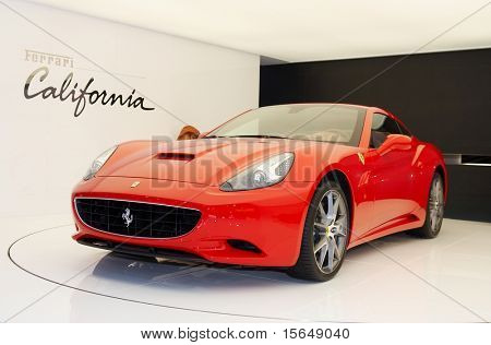 PARIS, FRANCE - OCTOBER 02: Paris Motor Show on October 02, 2008, showing Ferrari California, front view