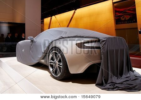 PARIS, FRANCE - OCTOBER 02: Paris Motor Show on October 02, 2008, showing Aston Martin 177, rear view