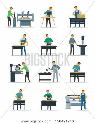 Woodworking carpentry polishing and painting flat icons collection with home refurnishing and repair services isolated vector illustration
