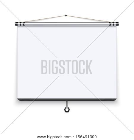 Blank white board, meeting projector screen, presentation display vector illustration. White screen for conference, presentation projection screen film
