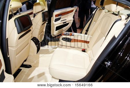 PARIS, FRANCE - OCTOBER 02: Paris Motor Show on October 02, 2008, showing BMW 7-series Individual, interior view, rear seats