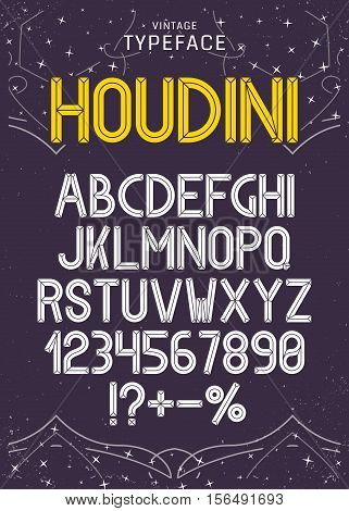 Vector vintage typeface.Facet retro alphabet. Font for labels and headlines.