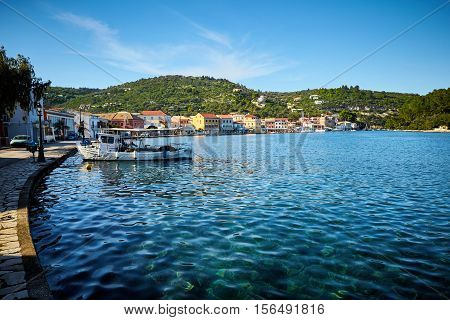 Gaios port at Paxos island in Greece. Ionian sea