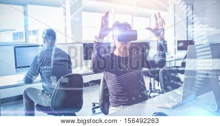 Composite image of face against mature student using virtual reality headset