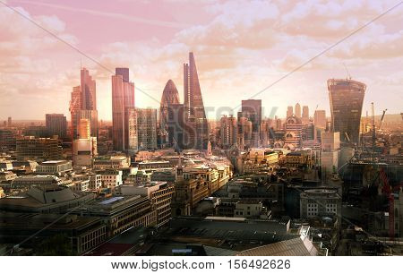 London view at sunset. View on business modern district
