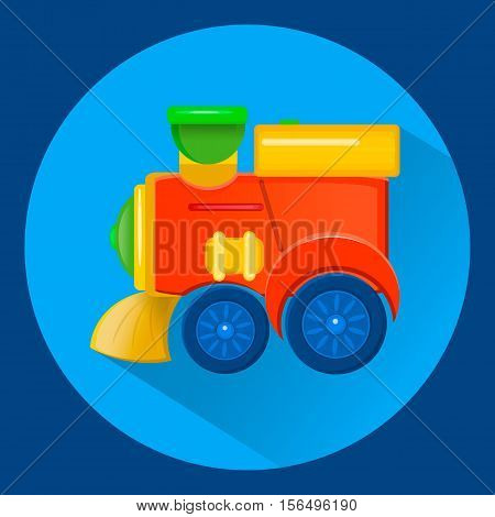 vector illustration of a children's toy train flat syle