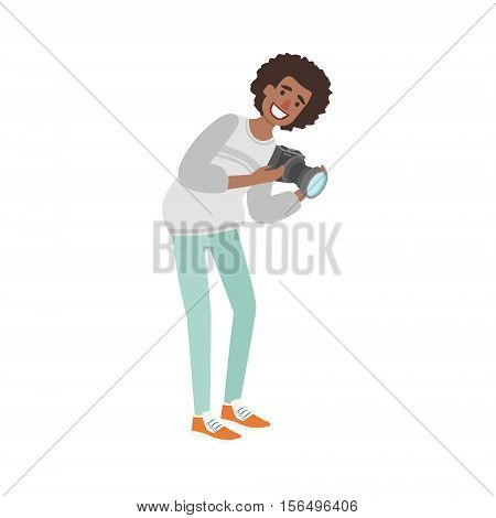 Man With Afro Taking Pictures With Photo Camera Illustration. Colorful Simplified Character Flat Vector Drawing Isolated On White Background.