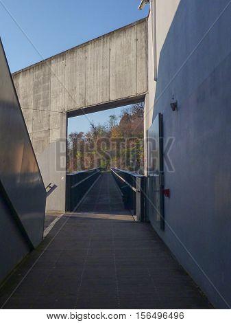 Acces To A Pedestrian Bridge On A Concrete Building