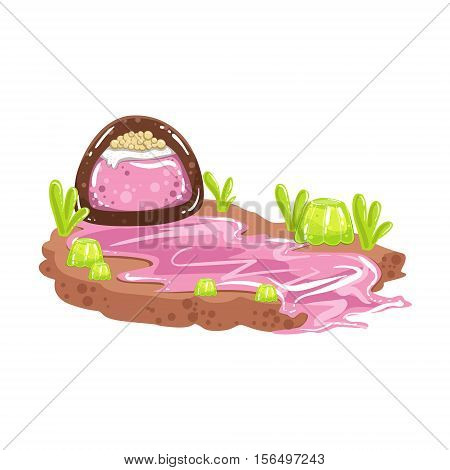 Sweet Syrup River Coming From Chocolate Candy Fantasy Candy Land Sweet Landscape Element. Illustrations From Girly Magic Sweet Land Design Set For Video Game Landscaping.