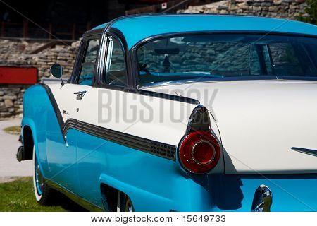HAAPSALU, ESTONIA - JULY 18: American Beauty Car Show, showing white and blue 1956 Ford Fairlane 2D HT, rear detail on July 18, 2009 in Haapsalu, Estonia