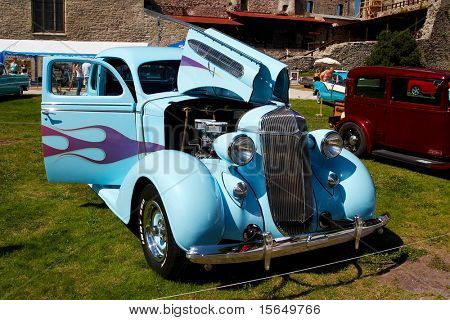 HAAPSALU, ESTONIA - JULY 18: American Beauty Car Show, showing blue 1936 Chrysler 6 Airstream Business Coupe C7, front view on July 18, 2009 in Haapsalu, Estonia