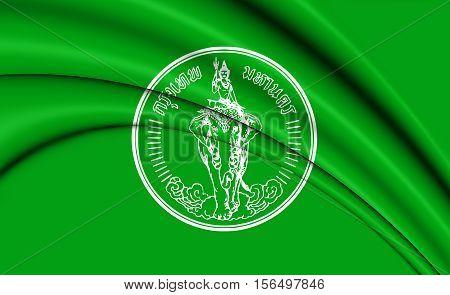 Flag of Bangkok Thailand. 3D Illustration. Close Up.