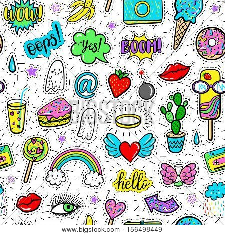 Vector hand drawn seamless pattern with fashion patches: eyes, ice cream, rainbow, doughnut, camera, lip, heart, arrow, banana, ghost. Modern pop art stickers, patches, pins, badges 80s-90s style