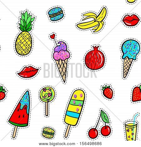 Vector hand drawn seamless pattern with fashion patches: ice cream, macaroons, cocktail, pineapple, pomegranate, strawberry, cherry, lip, banana on palm leaves. Pop art stickers, patches, pins, badges