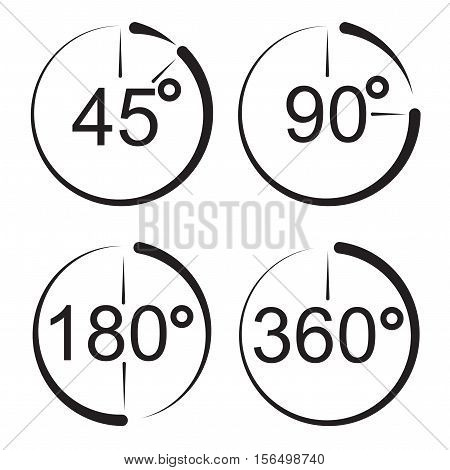 Angle 45, 90, 180, 360 degrees icons. Geometry math signs symbols. Flat icons. Vector illustration