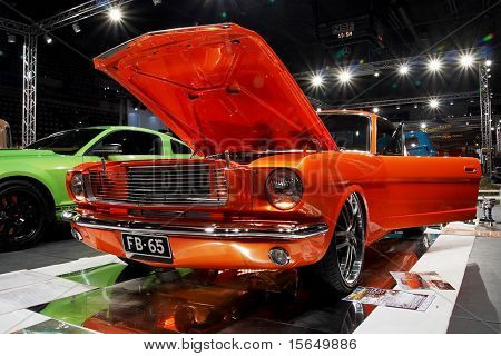 HELSINKI, FINLAND - OCTOBER 3: X-Treme Car Show, showing 1965 Ford Mustang Fasback on October 3, 2009 in Helsinki, Finland