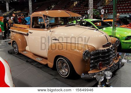 HELSINKI, FINLAND - OCTOBER 3: X-Treme Car Show, showing 1951 Chevrolet Pickup on October 3, 2009 in Helsinki, Finland